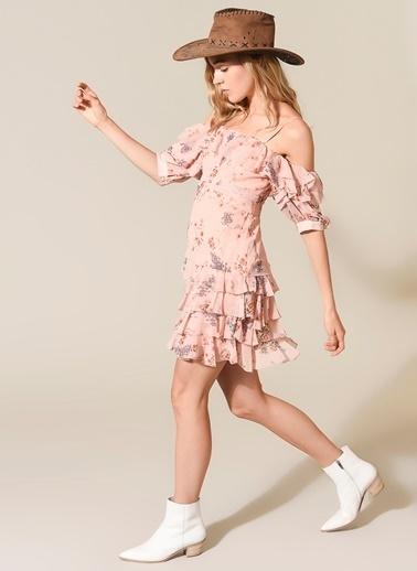 morhipo x dcey Volanlı Mini Elbise Pudra